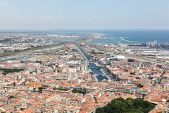 Sikt av staden av Sete i Frankrike royaltyfri fotografi