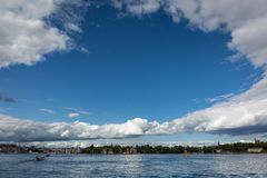 Sikt av staden av Stockholm royaltyfri bild