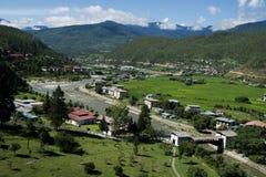 Sikt av staden, Thimphu, Bhutan Arkivbild
