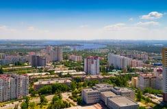 Sikt av staden av Vyshgorod från en höjd royaltyfria bilder