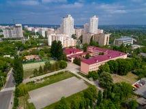Sikt av staden av Vyshgorod från en höjd royaltyfria foton