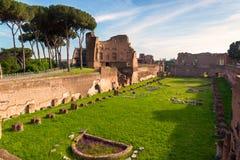 Sikt av stadion av Domitian på den Palatine kullen i Rome royaltyfri bild