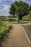 Sikt av statyn, träden och blommorna längs en bana på Rheinp fotografering för bildbyråer