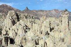 Sikt av stenbildande i månedalen, Bolivia Arkivbilder