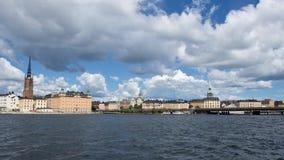 Sikt av strandbyggnader i Stockholm, Sverige Arkivfoton