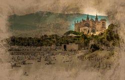 Sikt av stranden av Palma de Mallorca Arkivfoto