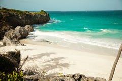 Sikt av stranden från klippan Vit strand på ön av Barbados royaltyfria foton