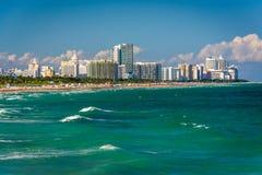 Sikt av stranden i Miami Beach, Florida Arkivfoton