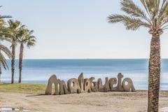 Sikt av stranden med palmträd och i sten namnet av Malaga royaltyfri foto
