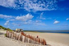 Sikt av stranden på Ameland en holländsk ö Fotografering för Bildbyråer