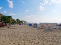 Sikt av stranden Playa del Postiguet i Alicante spain arkivbilder