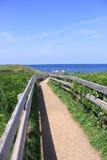 Sikt av strandpromenaden som leder till stranden Royaltyfri Foto
