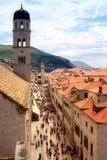 Sikt av Straunen i Dubrovnik Arkivfoto