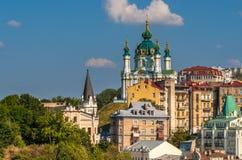 Sikt av Sts Andrew kyrka - Kyiv, Ukraina arkivfoto