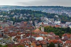 Sikt av Stuttgart från kullen, Tyskland Arkivbilder