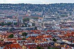 Sikt av Stuttgart från kullen, Tyskland Royaltyfria Bilder