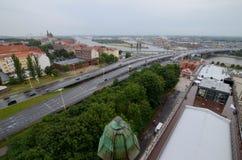 Sikt av Szczecinen i Polen Arkivbilder