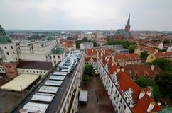 Sikt av Szczecinen i Polen Arkivfoto