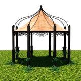 Sikt av tältet från avlägset med grönt gräs Royaltyfri Fotografi