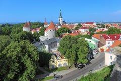 Sikt av Tallinn den gamla staden, Estland Royaltyfria Foton