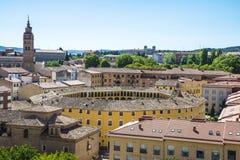Sikt av Tarazona de Aragon, Saragossa, Spanien Arkivfoto
