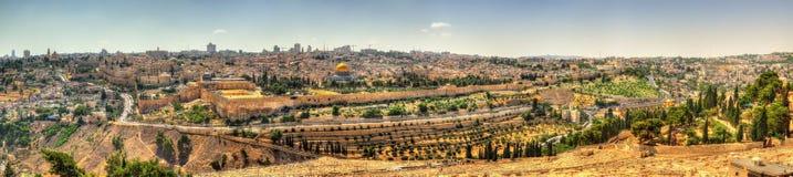 Sikt av tempelmonteringen i Jerusalem Arkivfoto