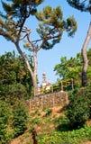 Sikt av templet från Poble Espanyol. Barcelona. Fotografering för Bildbyråer