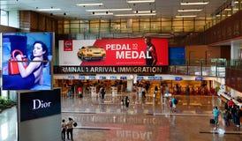 Sikt av terminalen 1 på den Changi flygplatsen i Singapore Royaltyfria Foton