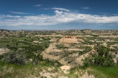 Sikt av Theodore Roosevelt National Park i North Dakota arkivfoton