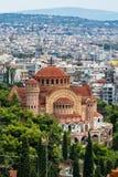 Sikt av Thessaloniki och den ortodoxa kyrkan av Saint Paul aposteln Grekland Royaltyfri Foto