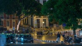 Sikt av timelapsen för natt för SaoDomingos fyrkant, nästan Rossio fyrkant lisbon portugal lager videofilmer