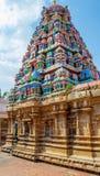 Sikt av tornet på den Ramaswamy templet, Kumbakonam, Tamilnadu, Indien - December 17, 2016 Royaltyfri Foto