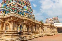 Sikt av tornet på den Ramaswamy templet, Kumbakonam, Tamilnadu, Indien - December 17, 2016 Arkivbild