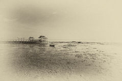 Sikt av torrt land på att gå tillbaka kusten Royaltyfri Fotografi