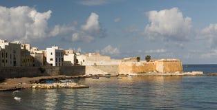 Sikt av Trapani från havet Arkivfoton