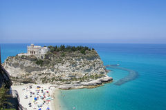 Sikt av Tropea från över, Calabria, Italien arkivfoto