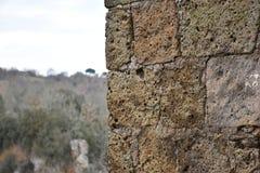 Sikt av tuffväggen och bakgrund Arkivfoto