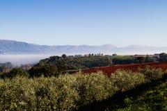 Sikt av Tuscany kullar Arkivbilder