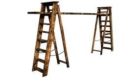 Sikt av två ljus-trä konstruktionstrappa Arkivfoto