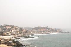 Sikt av uddekusten i Ghana arkivfoton