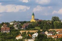 Sikt av utkanten av staden av Veszprem fotografering för bildbyråer