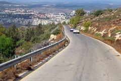 Sikt av vägen i Israel Arkivbilder