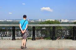 Sikt av vänstersidabanken av Dnieperen i Kiev Royaltyfria Bilder