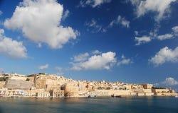 Sikt av Valletta från watchtoweren i Senglea Royaltyfri Foto
