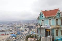 Sikt av Valparaiso, Chile Arkivfoto