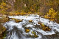 Sikt av vattenfall i den Jiuzhaigou nationalparken arkivbilder