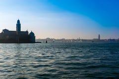 Sikt av Venedig från kanalen Royaltyfria Bilder