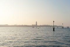 Sikt av Venedig från kanalen Royaltyfri Bild