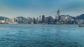 Sikt av Victoria Harbour i Hong Kong 4K TimeLapse - Augusti 2016, Hong Kong arkivfilmer