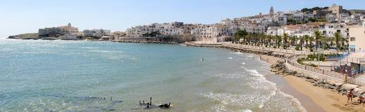 Sikt av Vieste på Puglia Royaltyfria Bilder